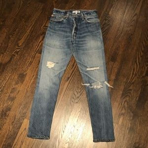 NWOT Re/Done High Rise Distressed Jeans Sz 25